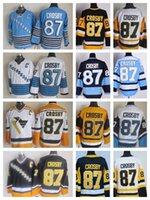 crosby jersey de invierno al por mayor-De calidad superior Vintage Sidney Crosby Jerseys Pittsburgh Mens 2009 Winter Classic 87 Sidney Crosby Jersey de hockey cosido camisas C parche