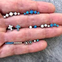 ensembles de bijoux en cristal dames achat en gros de-Simple Dame Boucles D'oreilles Ensemble Ajouré Fleur Croix Bleu Blanc Perles Cristal Géométrie Stud Boucle D'oreille Femmes De Noce Bijoux
