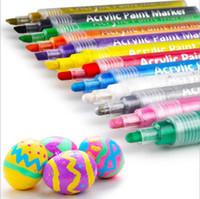 Wholesale ceramic toy set resale online - Acrylic Paint Marker Pens Permanent Paint Pen Art Markers Set for Paper Glass stone Canvas Wood Ceramic Fabric Painting DIY Crafts C575