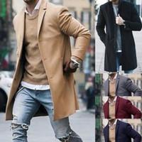diseño de oficina de traje al por mayor-Los nuevos hombres Mezclas de algodón Traje Diseño Los hombres guapos calientes Gabardina larga Casual Diseño Oficina Slim Fit chaquetas del juego Escudo envío de la gota