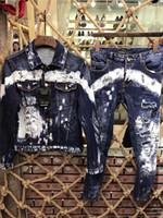 jacken niedriger preis großhandel-Jeansjacke 2019 der Männer mit langen Ärmeln Denim-Anzug. Hohe Qualität, niedrigster Preis, Denim top + Hosen dünne 44-54 # 0086