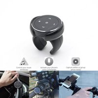 Wholesale selfie buttons resale online - Wireless Bluetooth Media Button Mount Remote Car Motorcycle Bike Steering Wheel Selfie Siri Control Music for Android iOS Phone