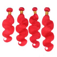 Wholesale Indian Virgin Human Hair Red Colored Bundles Deals Gram Body Wave Wavy Bright Red Human Hair Weave Extensions Double Weft