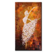 dansçılar petrol kanvas abstract toptan satış-60 * 120 cm Çerçevesiz El Boyalı Soyut Yağlıboya Bale Dancer Resim Oturma Odası Dekorasyon için Tuval Boya Duvar Sanatı