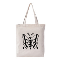 сумочки для печати оптовых-Custom Canvas Bag Print Original White Unisex Fashion Environmental Travel Bag Environmental High Capacity Simple Tote