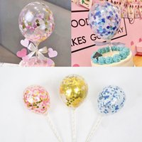 fiesta de cumpleaños decoraciones paja al por mayor-Globo de confeti multicolor de 5 pulgadas Topper Cake Insert Paper Cake Bow Straw Birthday Wedding Party Supplies Baby Shower