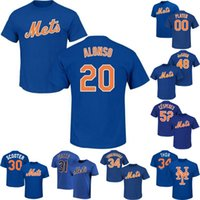 ingrosso t-shirt di fragola-20 Pete Alonso Uomo-Mets T-shirt Noah 34 Syndergaard 48 Jacob deGrom 17 Keith Hernandez 18 Darryl Strawberry Yoenis Céspedes T-shirt