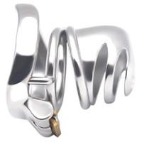 keuschheitsgürtel dildo bondage großhandel-304 Edelstahl Keuschheits Gerät super kleiner Cock Cage mit Stealth Sperre Ring Sex-Spielzeug