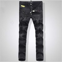 32 jeans largos al por mayor-2019 hombres bordado cráneo pantalones vaqueros cortos hombre flaco delgado pantalones de mezclilla moda casual jeans largos al por mayor