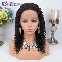 Wholesale black human hair wigs curls resale online - Brazilian Jerry Curl Wig Lace Front Human Hair Wig Pre Plucked Part Lace Wigs For Black Women Mid Part