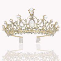 китайские горный хрусталь оптовых-Ювелирные Gorgeous Silver Pearl Люкс Тиара Корона с расчески ободки Женщины Пром волос Украшения для волос Свадебные аксессуары