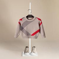 blusas de malha de lã de bebê venda por atacado-Venda quente Menino Camisola 2017 Outono Design Da Marca de Lã De Malha Pullover Cardigan Para O Bebê Meninas Crianças Roupas Infantis Top Infantil