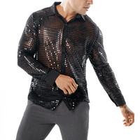camisa sexy transparente venda por atacado-Brilhante Camisa De Lantejoulas Transparente Homens 2019 New Sexy Ver Através Chemise Homme Boate Palco Camisa de Dança de Baile Masculino Camisa Social J190792