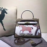 Wholesale tote bag pattern free resale online - 28CM Big Brand Designer Totes With Lock Colored painting Pattern Cowhide Leather Shoulder bags women Genuine leather Fashion Free Ship