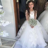 kızlar için uzun kabarık elbiseler toptan satış-Prenses Bahar Çiçek Kız Elbise Jewel Boyun Dantel Aplikler Illusion Uzun Kollu Aplikler Kızlar Pageant Elbise Kabarık Çocuk Gelinlik