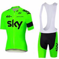bib jersey bisiklet gökyüzü toptan satış-2019 SKY Triatlon UCI ekibi Pro Cycling Jersey Ropa Ciclismo Dağ Bisikleti Kısa Kollu Bisiklet Giyim Yaz Nefes önlüğü şort set