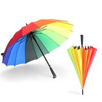 ingrosso colore soleggiato-Ombrello arcobaleno lungo manico 16K dritto antivento colorato pongee ombrello donna uomo soleggiato parasole ombrello parasole 6 colori WX9-1348