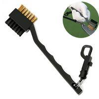 escovas de limpeza do clube de golfe venda por atacado-Mini Duplo Lado Golf Latão + Nylon Golf Club Cabeça Groove Cleaner Escova de Limpeza Kit de Ferramentas com Cabide Acessórios de Golfe adereços ZZA326