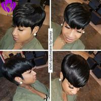 mejores pelucas de encaje corto al por mayor-el mejor peinado corto de corte pixie para mujeres negras Pelucas de cabello humano con frente de encaje preplumado con flequillo Peluca brasileña recta de Bob