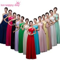 vestidos de novia largos vestidos amarillos al por mayor-partido rojo una dama de honor del hombro criadas de las novias vestidos más tamaño vestido de fiesta vestido de gasa largo diosa griega de color amarillo