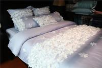 ingrosso set puro comforter di cotone-1904018 Romantico lungo tessuto di cotone 60 raso di colore puro pizzo biancheria da letto nuda prodotti di dimensioni queen consolatore set copripiumino