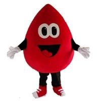 аниме-комплекты оптовых-Горячая Высокое качество горячий красный капли крови костюм талисмана мультипликационный персонаж карнавальный костюм аниме комплекты талисман EMS доставка