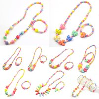 Wholesale cheap bracelets for girls online - PrettyBaby children jewelry sets for girls gifts kid necklace set for girl Round Beads Colorful Necklace bracelet set Cheap Necklaces