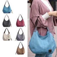 Wholesale cross shoulder hiking packs resale online - Women Canvas Handbags Vintage Large Pocket Handbag Shoulder Cross Body Handbags Canvas Leather Large Capacity Bags MMA1738