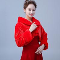 vestido bolero rojo al por mayor-Envío gratis rojo nupcial de piel sintética Boleros envuelve con cuello vestidos de boda chales de piel chaquetas para la noche de invierno vestidos de fiesta venta caliente