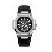 Wholesale watch moon phases resale online - Top fashion Mens Watch PP Nautilus A Series MM Moon Phase Dial Sapphire Glass Automatic Leather Strap Men classic Sports Watch