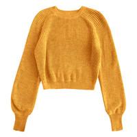 schlichte farbpullover großhandel-ZAFUL Solid Color Cropped Sweater Raglanärmel Plain Sweater Rundhalsausschnitt Micro Elastic Pullover Short für Frauen