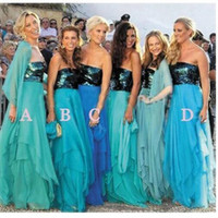 Wholesale turquoise black dress resale online - Turquoise Blue Bridesmaid Dresses for Beach Wedding Long Sequin Chiffon A Line Tiered Cheap Mismatched Wedding Party Dresses