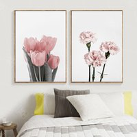 Wholesale single flower paintings for sale - Group buy Nordic Minimalist Carnation Tulip Flower Wall Art Canvas Painting Posters And Prints Wall Pictures For Living Room Bedroom Decor