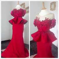 Wholesale pink gowns for sale - Group buy 2019 Aso Ebi Arabic Red Simple Cheap Evening Dresses Sheer Neck Lace Beaded Prom Dresses Mermaid Formal Party Second Reception Gowns Dress