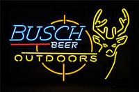 ingrosso busch neon segno-19X15 Pollici Busch Birra Budweiser Bocciolo All'aperto Real Glass Insegne Al Neon Birreria Pub Luce Fatto A Mano Artwork MIGLIORE REGALO Trasporto Veloce