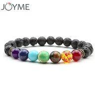 neuer buddha-ring großhandel-Joyme neue 7 chakra armband männer schwarz lava heilabgleich perlen reiki buddha gebet naturstein yoga armband für frauen c18122801