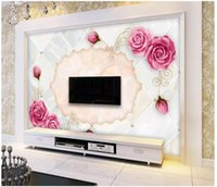 Wholesale wallpaper roses for sale - Group buy 3D photo wallpaper custom d wall murals wallpaper European marble art rose TV background wall papers for walls papel de parede