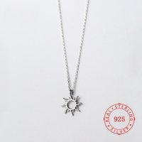 collier de soleil 925 achat en gros de-Corée Hot Style Pure 925 Sterling Silver Delicate Mode Creux Soleil Pendentif Collier Bijoux pour Femmes simple collier conceptions