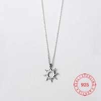collar de sol de 925 al por mayor-Corea Estilo Caliente Puro 925 de Plata Delicada Moda Hollow Sun Colgante Collar de Joyería para Las Mujeres simples diseños de collar