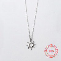 Wholesale 925 sun necklace for sale - Group buy Korea Hot Style Pure Sterling Silver Delicate Fashion Hollow Sun Pendant Necklace Jewelry for Women simple necklace designs
