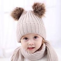 детские шапки kawaii оптовых-Двойной шарик вязаная детская милая шапка енота меховой помпон Bobble Дети Hat теплые шапки крючком Kawaii Baby зимняя шапка