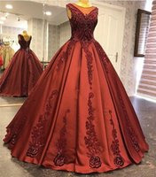 Wholesale black hot pink 15 dresses online - Hot Sell Burgundy Ball Gown Quinceanera Dresses Embroirdery Appliques Beaded Puffy Vestidos de anos Princess Party Evening Gowns