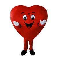 traje de coração adulto venda por atacado-2019 Desconto venda da fábrica Coração Vermelho de Adulto Traje Da Mascote Tamanho Adulto Fancy Heart love Mascot Costume