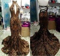 afrikanisches echtes gold großhandel-Real Image Sparkly Mermaid Prom Abendkleider 2019 Pailletten Applique Gold und Schwarz African Occasion Abendmode Kleider