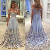 Wholesale butterfly images for sale - Group buy 2019 Spring Sexy Off The Shoulder Light Blue A Line Butterfly Prom Dresses Tulle Ruffle Floor Length Party Evening Dresses