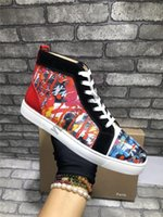 Wholesale studded shoes for men resale online - NEW Designer Sneaker Red Bottom scrawl colorful shoe high Cut Studded Spikes Luxury Shoes For Men Women Shoes Party crystal Leather Sneakers