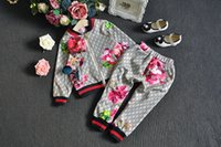 ingrosso hoodie per fiori-Disponibile 2019 Baby Autumn Floral Clothes Set Bambini Boy Girl Long Sleeve Hoodie Top + Flowers Pantaloni 2 pezzi Abiti Fashion Tuta Abiti