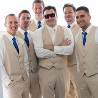groomsmen sommeranzüge großhandel-Beige Strand Hochzeit Smoking Sommer Groomsmen Männer Slim Fit Formale Junge Prom Party 3 Stücke Anzug