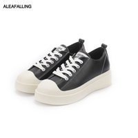 ingrosso cuoio maturo-Aleafalling Women Flats Outdoor Sneakers traspiranti Lace Up Morbida pelle matura Classica Lady Shoes Solid Outdoor Girl's Shoes