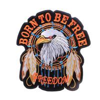 eule adler großhandel-Große Größe Adler Stickerei Patches Amerikanische Tradition Freiheit Adler Nähen Eisen Auf Applique Patch Abzeichen DIY Abzeichen Für Kleidung Für Jacke